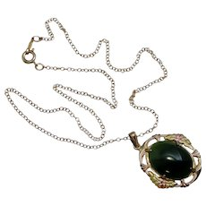 Necklace Pendant Green Moss Agate Gold Filled Floral Choker Chain Yellow Pink Green Tri Color