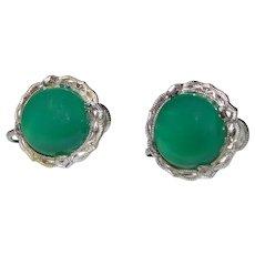 Art Deco Chrysoprase Earrings Sterling Silver Geometric Millegrain Detail