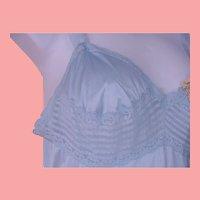 NOS Vassarette Long Slip Nightgown Blue Nylon Lace Trim Size 34 USA NWT