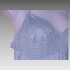 NOS Vassarette Long Slip Nightgown Blue Nylon Lace Trim Size 34 USA NWT