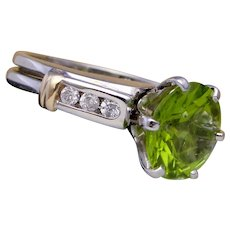 3.2 Carat Peridot Solitaire Ring with Diamond Wrap 14K White Gold