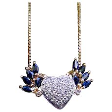 Diamond Blue Sapphire Winged Heart Pendant Custom Upcycle Design
