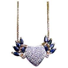 Diamond Blue Sapphire Winged Heart Pendant Custom Upcycle Design