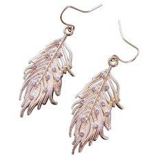 Earrings Long Dangle Swinging Feather Motif Costume Jewelry Goldtone