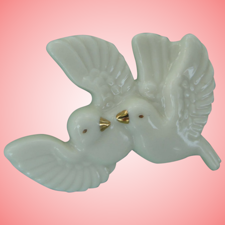 f80167547db Dove Pin Love Birds China Porcelain Figural Brooch Lenox : Chantilly Vintage  | Ruby Lane