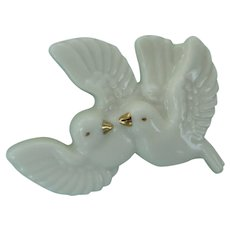 Dove Pin Love Birds China Porcelain Figural Brooch Lenox