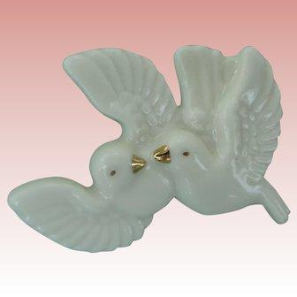 Dove Pin Love Birds China Porcelain Figural Brooch Lenox