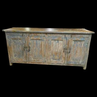Antique Farmhouse Distressed Blue-Patina Sideboard