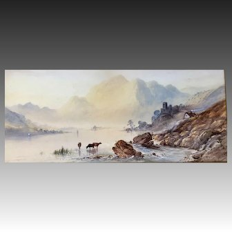 """Watercolor Painting of Scottish """"Loch Katrine"""" by Francis Miles"""