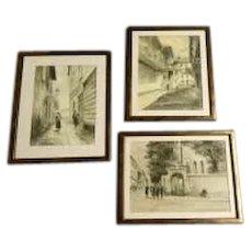 Three Watercolors by Aleksander Rajewski, a Polish artist during the early 20th Century.