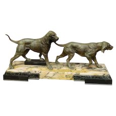 19th Century French Patinated Spelter Hunting Dogs Sculpture on Marble Base