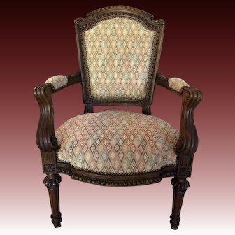 Louis XIV Oak Arm Chair, Fauteuil