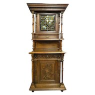 19th Century Renaissance Revival Hunt Board Cabinet -Wolf (has sister cabinet -Pheasant)