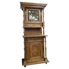 19th Century Victorian Renaissance Revival Hunt Board Cabinet - pheasant