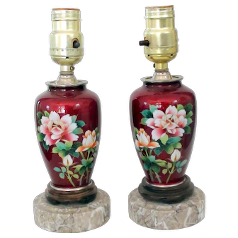 Sato pigeon blood red cloisonne lamps