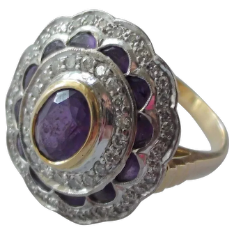 Vintage one of a kind amethyst and diamond 18k ring