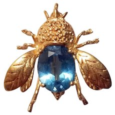 14k Topaz and bee pin
