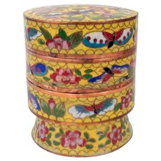 Cloisonne sectioned yellow tea or herb caddy