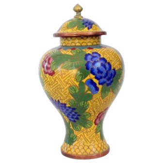 Rich yellow cloisonne ginger jar