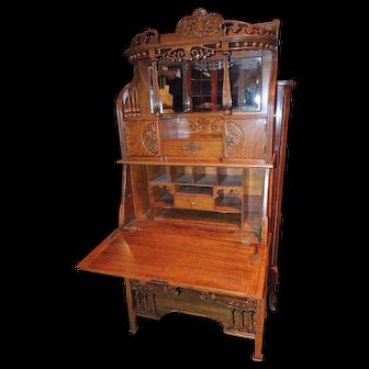 19th Century Spectacular Oak Slant-Front Desk/Etagere