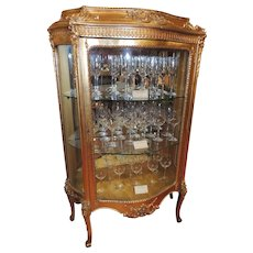 19th Century French Gold Leaf Curio Cabinet