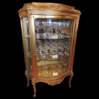 19th Century French Gold Leaf Curio Cabinet