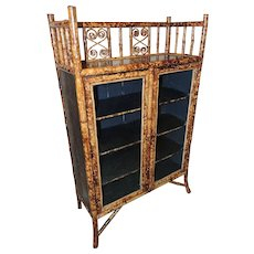 19th Century English Bamboo Cabinet/Bookcase