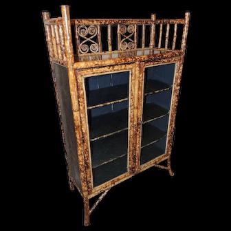 19th Century English Bamboo Cabinet/Bookcase