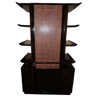 Mid-Century Dark Wood and Cane Cabinet