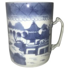 18th-19th Century Blue & White Canton Export Mug
