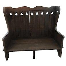 Custom Handcrafted Solid Oak High Back Bench c.1920