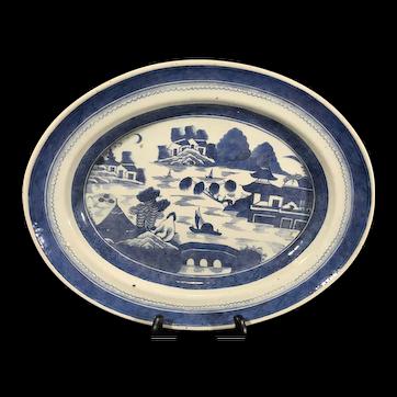 Large Beautiful Antique 19th Century Canton Porcelain Deep dish oval Platter