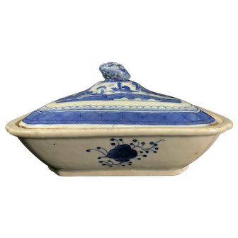 Antique 19th Century Canton Porcelain Covered Dish/Tureen