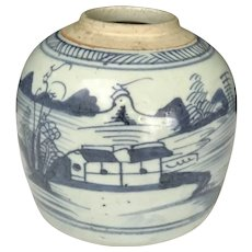 18th-19th Century Blue & White Canton Porcelain Jar
