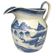 18th-19th Century Blue & White Canton Porcelain Pitcher