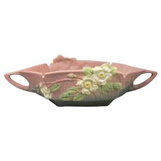 Roseville White Rose Coral Console Bowl 393-12 American Vintage Pottery