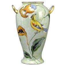 Noritake Signed Lustreware Bird Vase Art Deco Morimura Bros