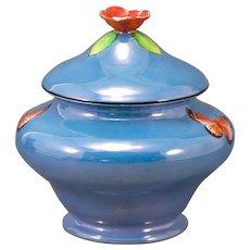 Noritake Signed Lustreware Butterfly & Apple Blossom Dresser Jar Art Deco