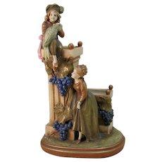 Amphora Figural Art Pottery Planter Parrot Grape & Vine Bohemian