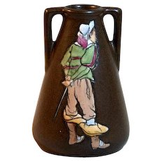 Amphora Stellmacher Cavalier Vase Arts & Crafts Art Pottery