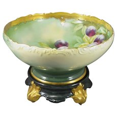 Limoges T & V Punch Bowl & Stand E Heap Plums