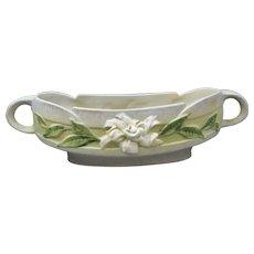 Roseville Gardenia Silver Haze Gray Console Bowl 628-10 American Vintage Pottery Planter