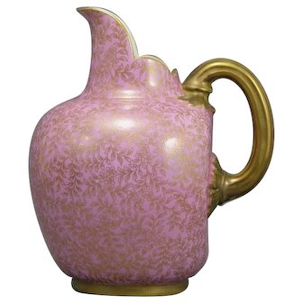 Royal Worcester Pink Gold Pitcher Flat Back British Aesthetic Movement Pink