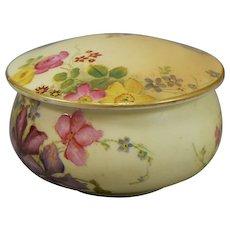 Royal Worcester Covered Box Jar Blush Ivory Art Spray