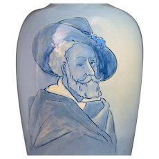 Weller Pottery (1872-1948) Charles Chilcote Signed Dickensware II Don Quizote Portrait Vase 14.5""