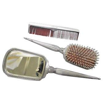 Saart Brothers Vanity Set Sterling Silver Comb Brush Mirror