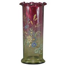 Moser Rubina Verde Enamel Vase Art Glass