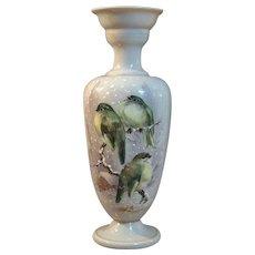 """Harrach Enamelled Birds in Winter Vase 13.5"""" Bohemian Art Glass"""