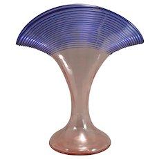 Kralik Fan Vase Blue THreaded