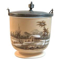 Smith Brothers Biscuit Barrel Winter Homestead Mt. Washington Glass Co